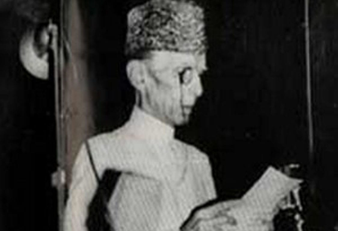 The first Governor General Muhammad Ali Jinnah delivering the opening address on 11 August 1947 to the new state of Pakistan.