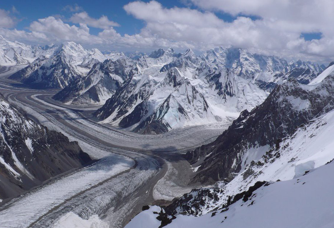 The 62-kilometre-long Baltoro Glacier, in northern Pakistan, is one of the longest glaciers outside the Polar Regions