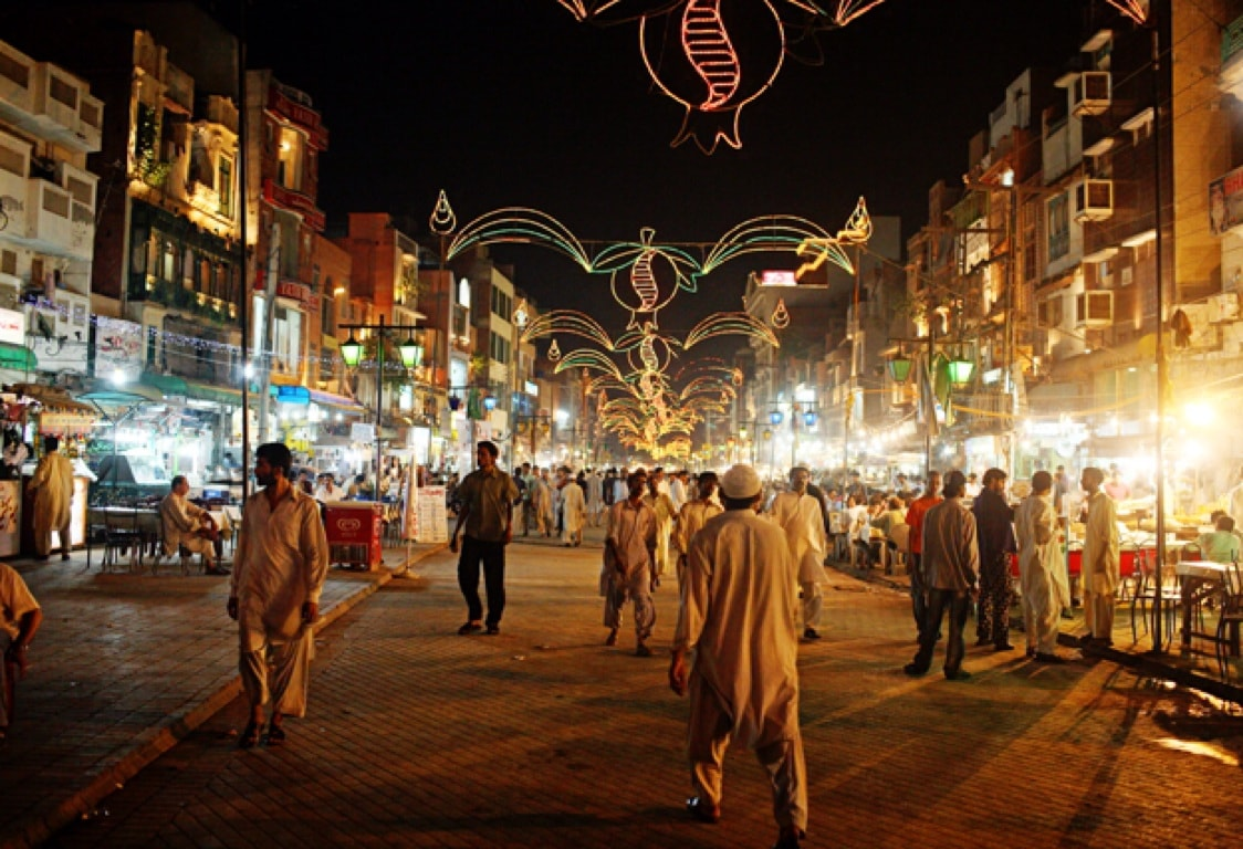 Center for Non-Communicable Diseases - View of Food Street in Lahore